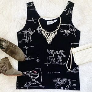 3/$20 Chico's Vacation Blouse Tank Black Size 1